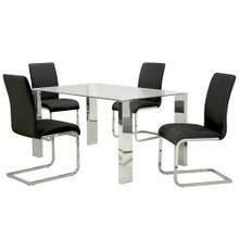 Frankfurt/Maxim 5pc Dining Set, Chrome/Black