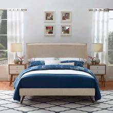 View Product - Amaris Queen Fabric Platform Bed with Round Splayed Legs in Beige