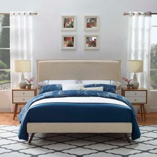 Product Image - Amaris Queen Fabric Platform Bed with Round Splayed Legs in Beige