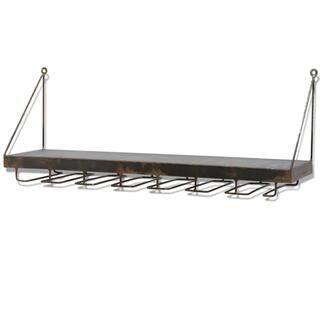 RUSTIC WINE RACK  26w X 10ht X 7d  Modern Industrial Metal Wall Shelf