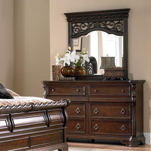 King Sleigh Bed, Dresser & Mirror, Chest, Night Stand