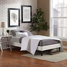 View Product - Tessie Twin Vinyl Bed Frame with Squared Tapered Legs in White