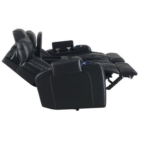 Lavon Dual-Power Leatherette Console Loveseat
