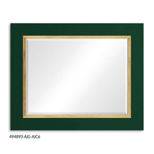 """Teal Homespun"" mirror (Forest/Gold)"