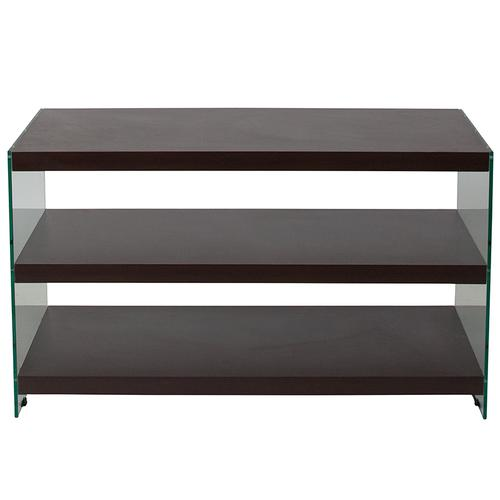 Flash Furniture - Wynwood Collection Dark Ash Wood Grain Finish TV Stand with Shelves and Glass Frame