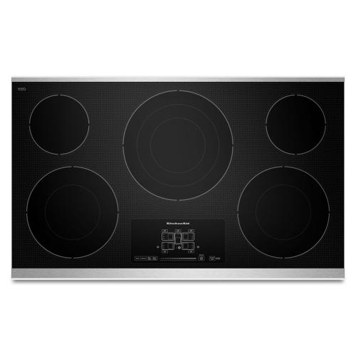 """KitchenAid KECC667BSS   36"""" Electric Cooktop with 5 Radiant Elements and Touch-Activated Controls - Stainless Steel"""
