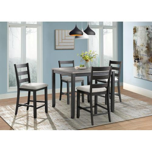 Martin Black Counter Dining Set - Counter Table and 4 Barstools