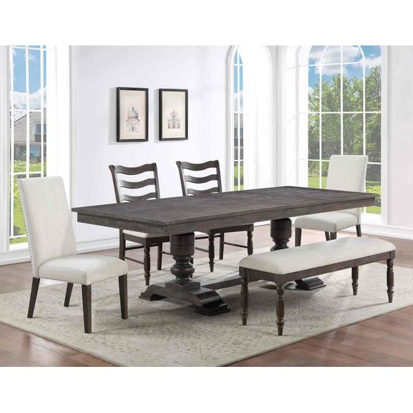 See Details - Hutchins 6-Piece Dining Set, Upholstered Chairs (Table, 4 Side Chairs & Bench)
