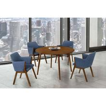 """See Details - Arcadia and Renzo 48"""" Round Blue and Walnut Wood 5 Piece Dining Set"""