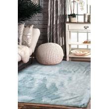 7TH Ray Dip Dye Modern Faux Fur Area Rug by Rug Factory Plus - 2' x 3' / Gray Blue