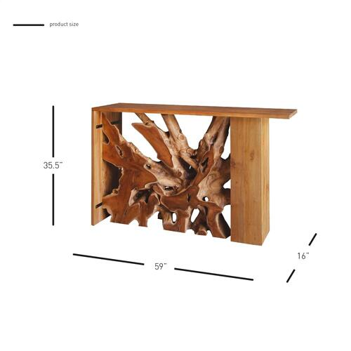 Lennox Teak Wood Console Table, Natural