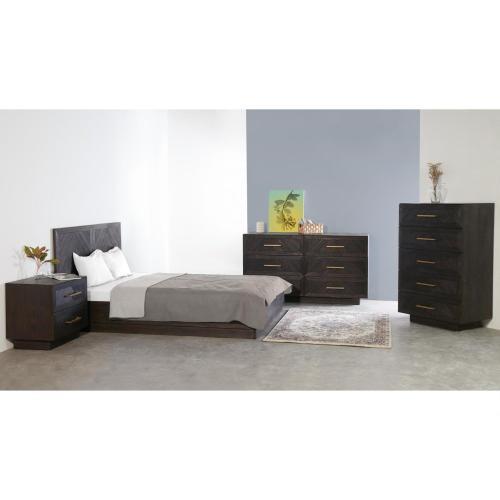 1220005 In By New Pacific Direct In Manhattan Ks Wellington Kd Herringbone Queen Bed Set Thames Brown