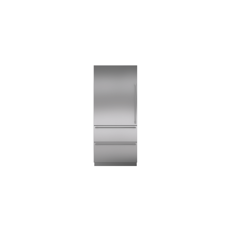 """Integrated Stainless Steel 36"""" Tall Door Panel with Tubular Handle - Left Hinge"""