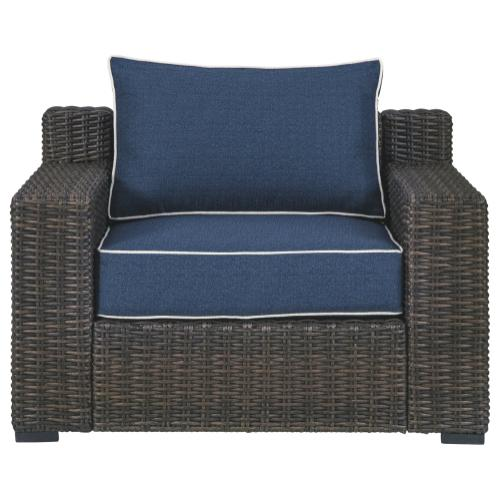 Grasson Lane Lounge Chair w/Cushion Brown/Blue