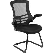 Black Mesh Sled Base Side Reception Chair with Flip-Up Arms