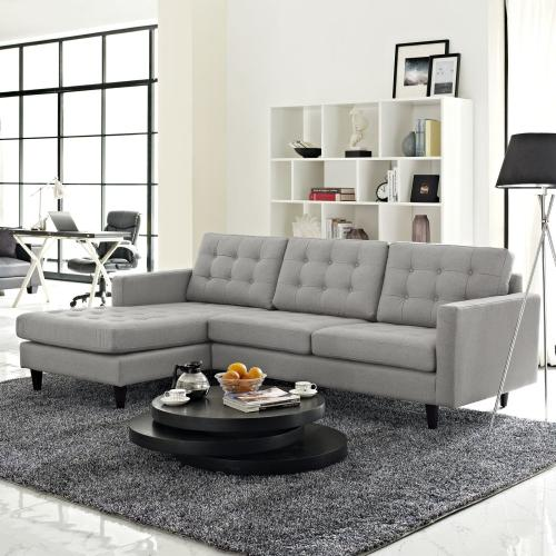 Modway - Empress Left-Facing Upholstered Fabric Sectional Sofa in Light Gray