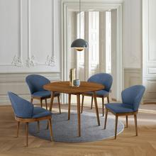 """See Details - Arcadia and Juno 42"""" Round Blue and Walnut Wood 5 Piece Dining Set"""