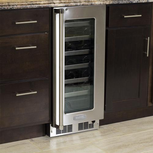 Marvel - 15-In Professional Built-In High Efficiency Single Zone Wine Refrigerator with Door Style - Stainless Steel Frame Glass, Door Swing - Right