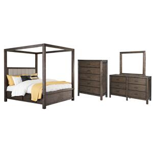 King Canopy Bed With 4 Storage Drawers With Mirrored Dresser and Chest