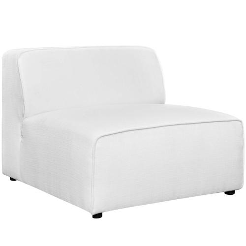 Mingle 5 Piece Upholstered Fabric Sectional Sofa Set in White