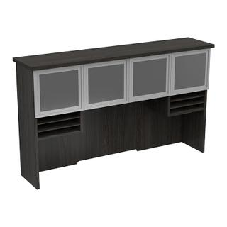 "72"" Hutch With Glass/aluminum Doors 2/ctns 72x16x42h"