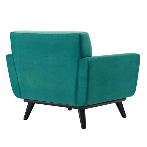 Modway - Engage Channel Tufted Performance Velvet Armchair in Teal