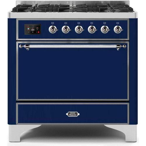 Ilve - Majestic II 36 Inch Dual Fuel Natural Gas Freestanding Range in Blue with Chrome Trim