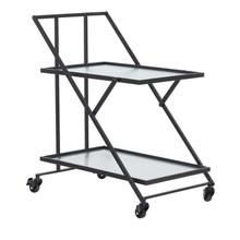 MTL GLS SERVING CART BLK 28W 31H