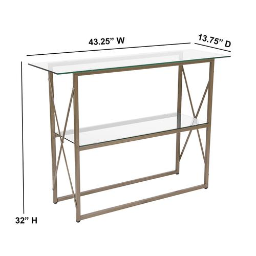 Flash Furniture - Mar Vista Collection Glass Console Table with Matte Gold Frame