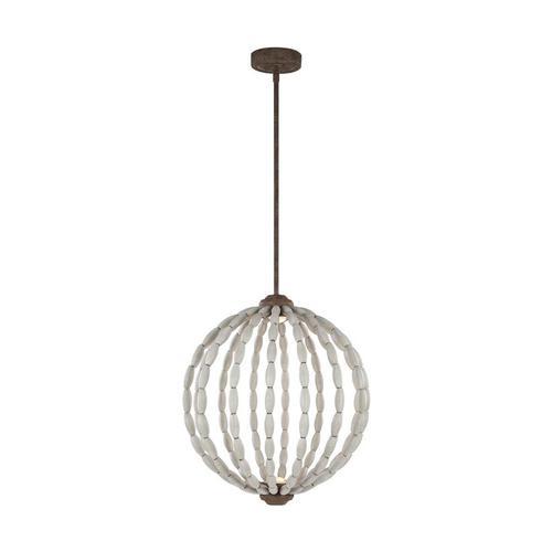 Orren Medium LED Chandelier Driftwood Grey / Weathered Iron Bulbs Inc