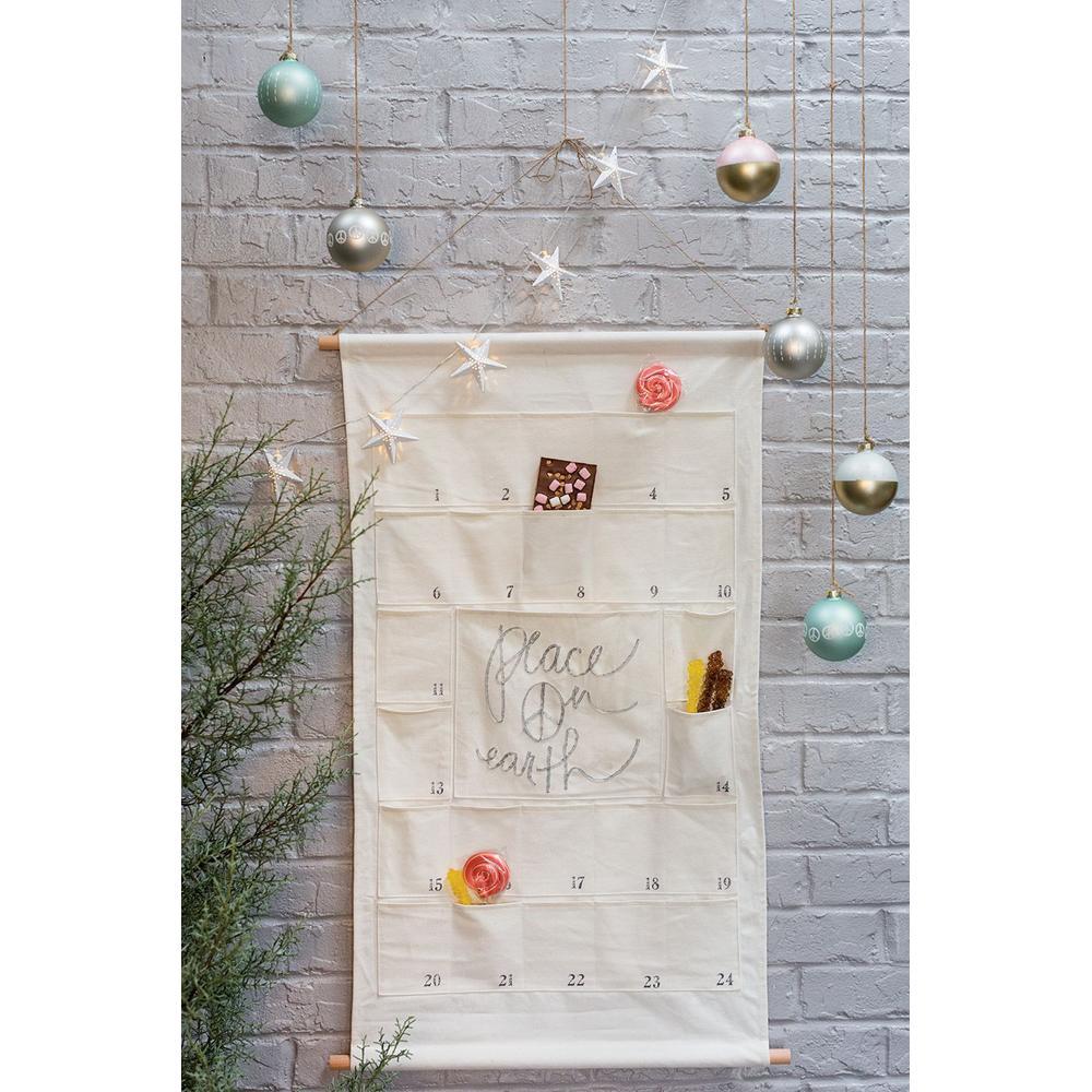 "See Details - Canvas Advent Calendar (Size:24.5""x 39.5"", Color:Off-White)"