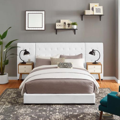 Modway - Sierra Queen Upholstered Fabric Platform Bed in White