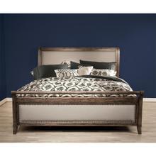See Details - Belmeade - Queen Sleigh Upholstered Footboard - Old World Oak Finish