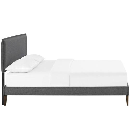 Amaris Queen Fabric Platform Bed with Squared Tapered Legs in Gray