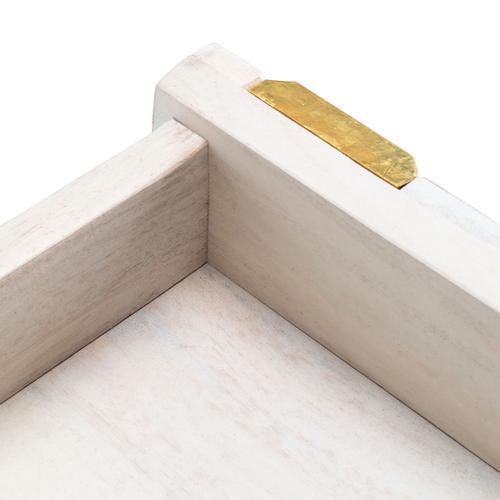 Raveena Desk - White Wash / Mixed White Wash/brass