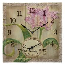 14-Inch x 14-Inch Beachwood Flower Clock with Thermometer