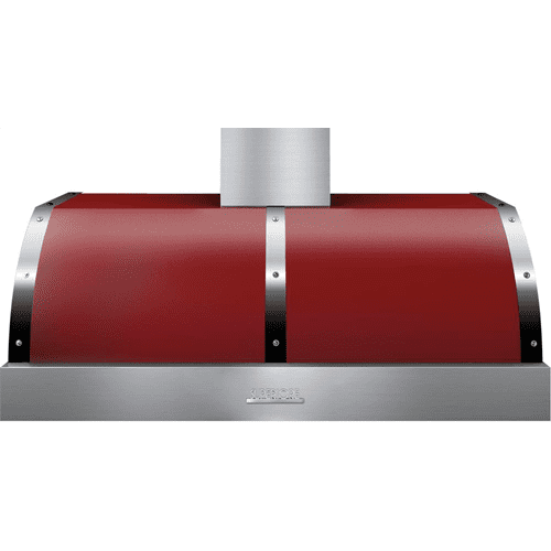 Hood DECO 48'' Red matte, Chrome 1 power blower, electronic buttons control, baffle filters