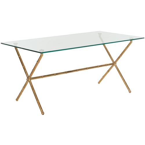 Brogen Accent Table - Gold / Clear Glass Top