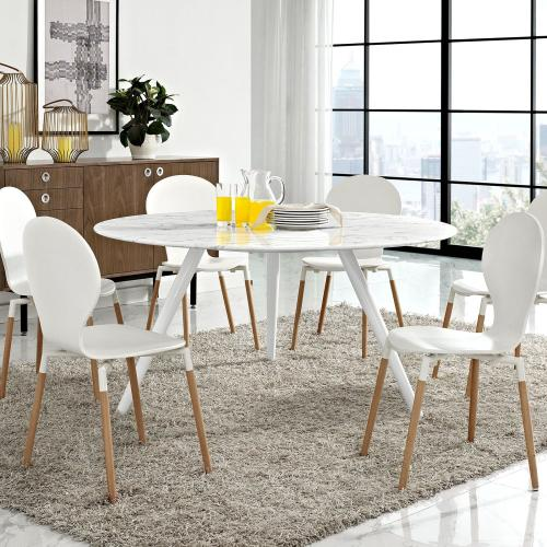 Eei2527whi In By Modway In Indianapolis In Lippa 60 Round Artificial Marble Dining Table With Tripod Base In White