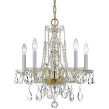 Traditional Crystal 5 Light Sp ectra Crystal Brass Mini Chand elier