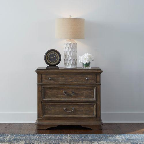 3 Drawer Bedside Chest w/Charging Station