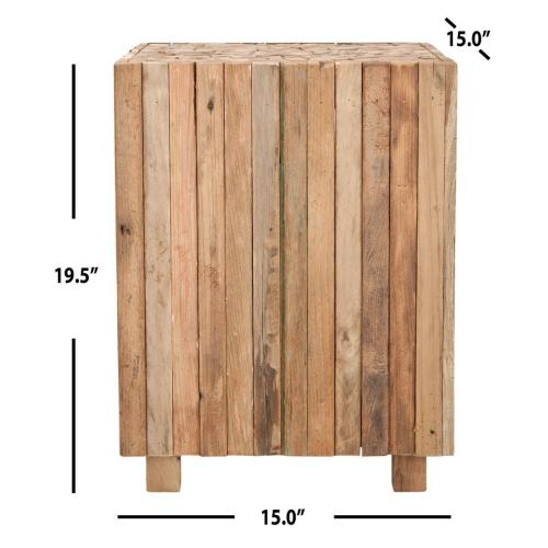 Richmond Rustic Wood Block Round Square End Table - Medium Oak
