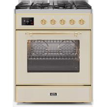 Majestic II 30 Inch Dual Fuel Natural Gas Freestanding Range in Antique White with Brass Trim