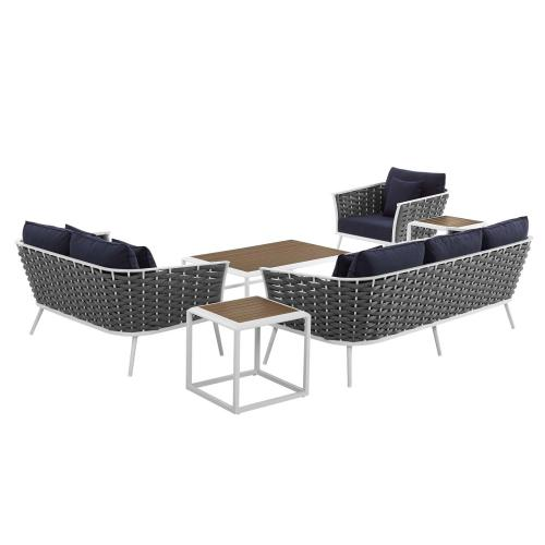 Modway - Stance 6 Piece Outdoor Patio Aluminum Sectional Sofa Set in White Navy