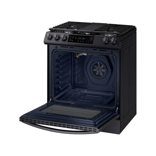 6.0 cu. ft. Smart Slide-in Gas Range with Convection in Black Stainless Steel