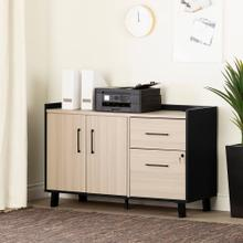 2-Drawer Credenza with Doors - Soft Elm and Matte Black