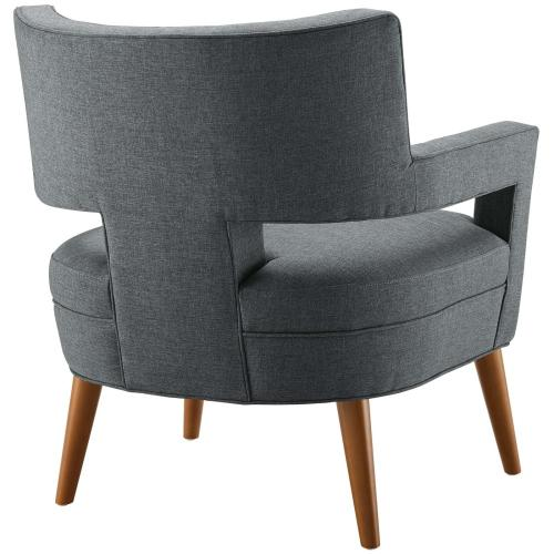 Sheer Upholstered Fabric Armchair in Gray