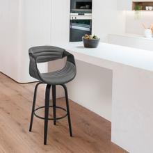 """See Details - Arya 30"""" Swivel Bar Stool in Grey Faux Leather and Black Wood"""