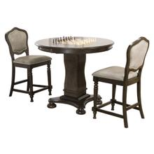 "CR-87711-TCB-3P  Vegas 3 Piece 42"" Round Counter Height Dining, Chess and Poker Table Set  Reversible 3 in 1 Game Top  Distressed Gray Wood  Upholstered Stools with Nailheads"