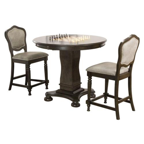 """Vegas Counter Height Dining, Chess and Poker Table Set 42"""" - Distressed Gray Wood (3 Piece)"""